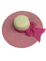 Summer Straw Floppy Fabric Bow Band with Stripes Hat Pink #8022-1
