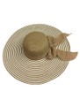Summer Straw Floppy Fabric Bow Band with Stripes Hat Brown #8022-4