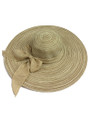 Summer Straw Multicolor Floppy Fabric Bow Band Hat Beige #8023-1