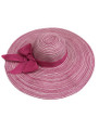 Summer Straw Multicolor Floppy Fabric Bow Band Hat Pink #8023-2