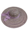 Summer Straw Multicolor Floppy Fabric Bow Band Hat Purple #8023-3