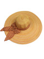 Summer Straw Multicolor Floppy Fabric Bow Band Hat Orange #8023-4