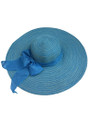 Summer Straw Multicolor Floppy Fabric Bow Band Hat Sky Blue #8023-6