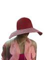 Summer Straw Floppy with Stripes Hat Assorted Dozen #8031
