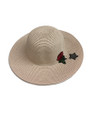 Summer Straw Floppy with Rose and Star Hat Pink #8030-1