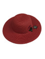Summer Straw Floppy with Rose and Star Hat Red #8030-2