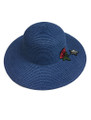 Summer Straw Floppy with Rose and Star Hat Navy #8030-4