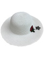 Summer Straw Floppy with Rose and Star Hat White #8030-5