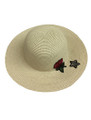 Summer Straw Floppy with Rose and Star Hat Beige #8030-7