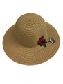 Summer Straw Floppy with Rose and Star Hat Brown #8030-8