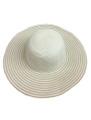 Summer Straw Floppy with Stripes Hat Ivory #8031-2