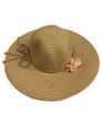 Summer Straw Floppy String Band with Flower Hat Brown  #8032-1