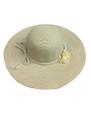 Summer Straw Floppy String Band with Flower Hat Beige  #8032-2