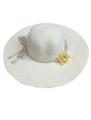 Summer Straw Floppy String Band with Flower Hat Ivory  #8032-3
