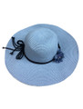 Summer Straw Floppy String Band with Flower Hat Light Blue  #8032-5