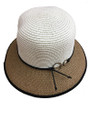 Summer Straw Cloche Ring Clasp Band Hat Brown #8036-2