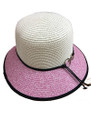 Summer Straw Cloche Ring Clasp Band Hat Pink #8036-5
