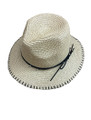 Summer Straw Metal Poms Band Hat Brown #8039-2