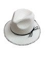 Summer Straw Metal Poms Band Hat Ivory #8039-4