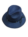 Summer Straw Metal Poms Band Hat Navy #8039-5