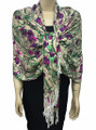 New! Pashmina Flowers Print Tan Dozen #113-1
