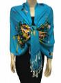 New! Pashmina Flowers Print Turquoise Dozen #112-2