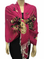 New! Pashmina Flowers Print Hot Pink  Dozen #112-3