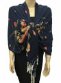 New! Pashmina Flowers Print Navy Blue Dozen #112-5