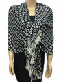 New! Pashmina Diamond Design White / Black Dozen #111-2