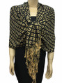 New! Pashmina Diamond Design Tan / Black Dozen #111-3