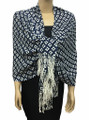 New! Pashmina Diamond Design White / Navy Dozen #111-4