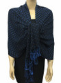 New! Pashmina Polka Dot Blue / Black Dozen #110-3