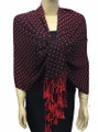 New! Pashmina Polka Dot Red / Black Dozen #110-4