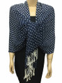 New! Pashmina Polka Dot White / Navy Dozen #110-6
