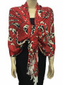 New! Pashmina Flowers Print Red Dozen #108-2