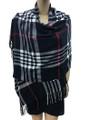 Cashmere Feel shawl  Scarves  Black # 76-3