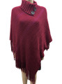 New! Solid Color  Button Turtleneck Metallic  Poncho Burgundy # P188-  6