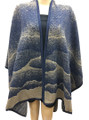 New! Winter Reversible Oversized Poncho Cape Navy # P191-2