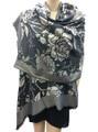 New!   Metallic Flowers Pashmina  Black #125-2