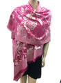New!   Metallic Flowers Pashmina Hot Pink #125-2