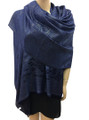 New! Stylish Metallic Pashmina Navy Dozen #125-4