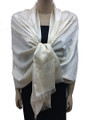 New! Stylish Metallic Pashmina ivory Dozen #125-3