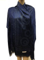 New! Stylish Metallic Pashmina Navy Dozen #125-3