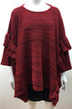 New ! Ladies' Stylish Ruffle Poncho Red # P211-4