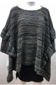 New ! Ladies' Stylish Ruffle Poncho Black # P211-2