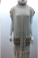 New ! Solid Color Pullover Turtleneck Short Sleeve Poncho Beige # P213-1