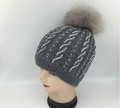 New!  Knit Cable Rhinestone Hats with Fur Ball Assorted Dozen #H1207