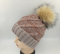 New! Two-tone Knit  Hats with Fur Ball Assorted Dozen #H1209