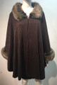 Elegant Women's - Faux Fur  Poncho Cape Coffee # P201-3