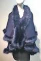 Elegant Women's - Faux Fur  Poncho Cape Navy # P202-4
